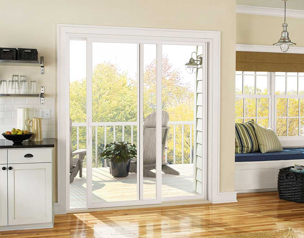 kitchen white sliding patio door