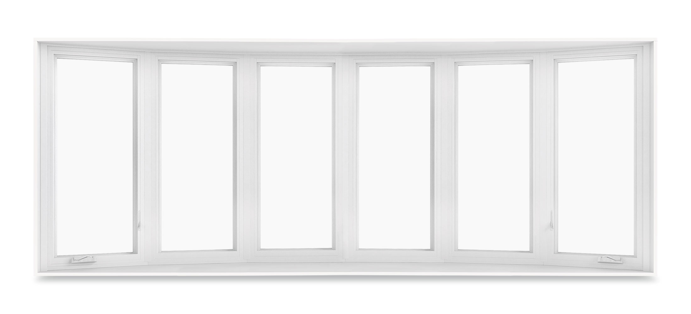 Bow window with 6-wide casements