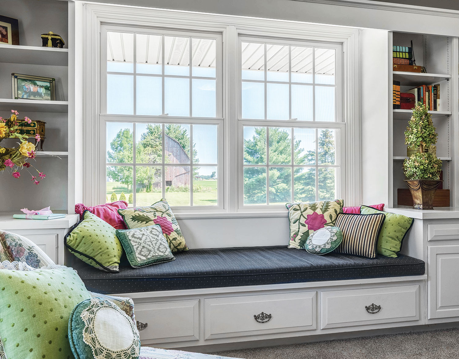 Double Hung Window two wide mull in reading nook.