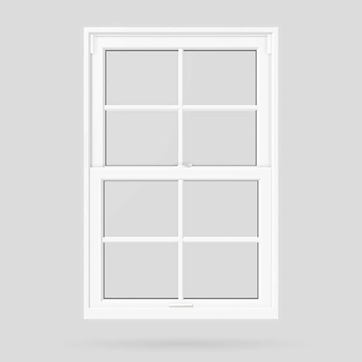 standard rectangular pattern double hung windows